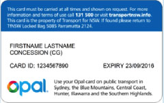 Transport Concession Entitlement Card